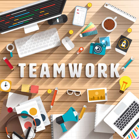 Foto de top view of desk prepare working for text TEAMWORK.Flat design illustration. - Imagen libre de derechos