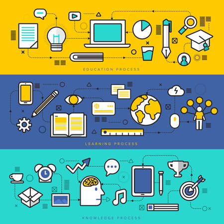 Illustration pour Thin line flat design of power of knowledge, STEM learning process, self education in applied science, computer technology for study. - image libre de droit