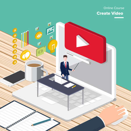 Vector e-learning concept create video in flat style digital content and online webinar how to make money with video.
