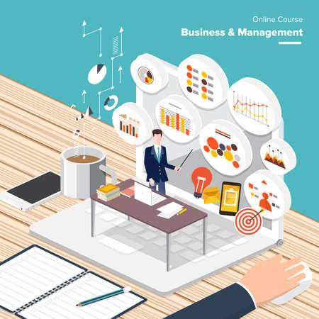 Illustration pour Vector e-learning concept in flat style - digital content and online business  management - image libre de droit
