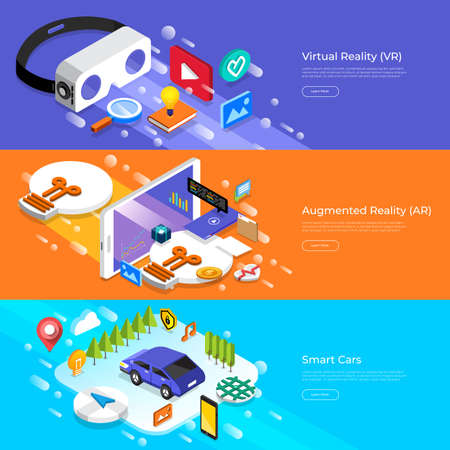 Flat design concept virtual reality, augmented reality and smart cars.