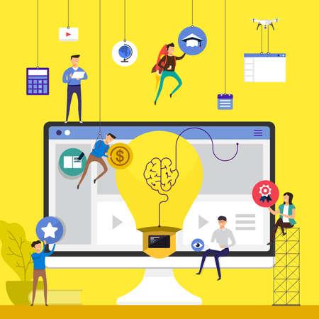 Ilustración de Flat design concept team working for building online course e-learning on desktop vector illustration. - Imagen libre de derechos
