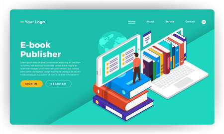 Ilustración de Mock-up design website flat design concept E-book, e-learning, digital education.  Vector illustration. - Imagen libre de derechos