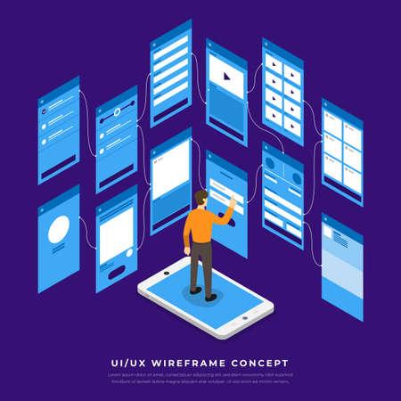 Illustration pour UX UI Flowchart. Mock-ups  mobile application concept isometric flat design. Vector illustration. - image libre de droit