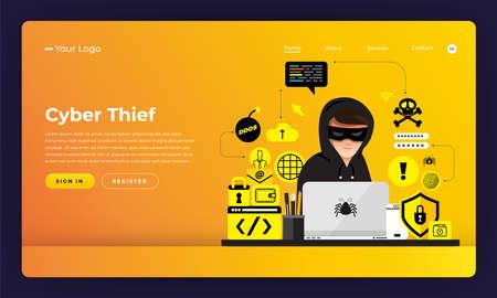 Illustration pour Mock-up design website flat design concept hacker activity cybercrime and cyber thief.  Vector illustration. - image libre de droit