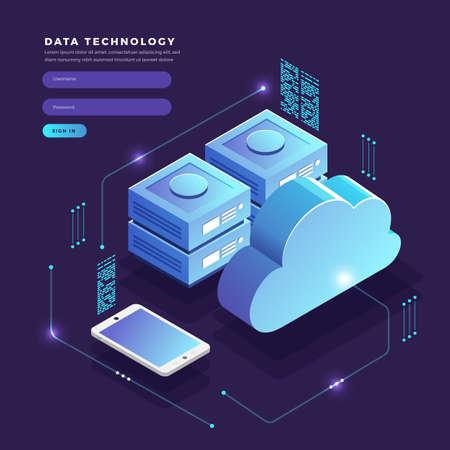 Ilustración de Isometric flat design concept cloud technology data transfer and storage. Connecting information. Vector illustrations. - Imagen libre de derechos