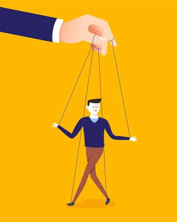 Vektor für Business concept illustration of big hand and a businessman being controlled by puppet master. - Lizenzfreies Bild