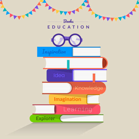 Illustration pour Flat design concept books. Education and learning with a books. Vector illustrate. - image libre de droit