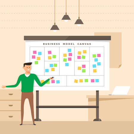 Illustration for Illustration concept the man present with whiteboard business model canvas. Vector illustrate. - Royalty Free Image