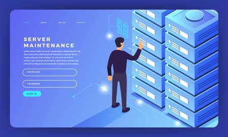 Illustration pour Mock-up design website flat design concept server hosting information. Vector illustration. - image libre de droit
