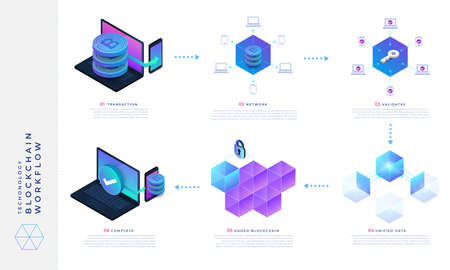 Photo pour Flat design concept blockchain and cryptocurrency technology. Ibfographic how it work. Isometric vector illustration. - image libre de droit