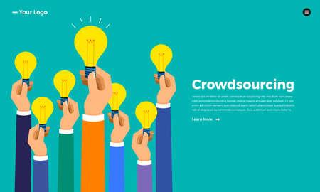Illustration pour Flat design concept crowdsourcing. Vector illustrate. - image libre de droit