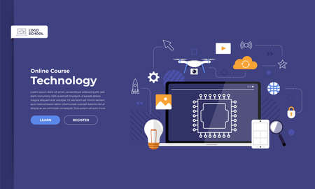 Ilustración de Mockup design landing page website education online course technology. Vector illustrations. Flat design element. - Imagen libre de derechos