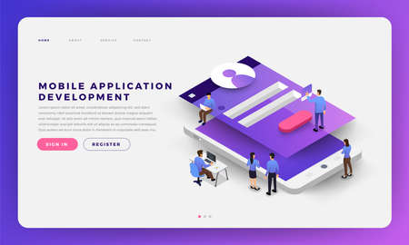 Ilustración de Mock-up design website flat design concept mobile app development with developer coding and working together. Isometric Vector illustration. - Imagen libre de derechos