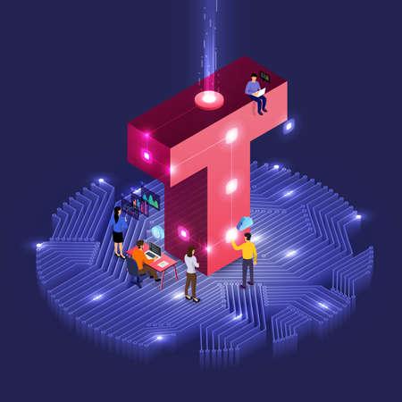 Illustration pour Business concept teamwork of peoples working development isometric alphabet type. Design for bold company name T. Vector illustrations. - image libre de droit