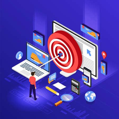 Illustration pour Isometric flat design concept digital marketing retargeting or remarketing. online banner ad network. Vector illustrations. - image libre de droit