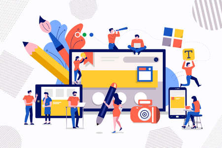 Illustration pour Illustrations design concept teamwork development web design and programming of mobile. Small people are working on creating a website. Vector illustrate. - image libre de droit