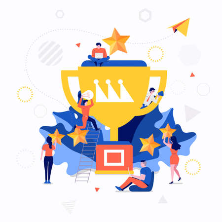 Illustration pour Illustrations flat design concept small people working together create big icon about business success. Vector illustrate. - image libre de droit