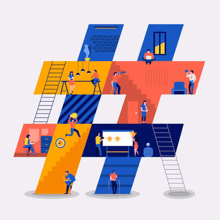 Illustration pour Illustrations flat design concept working space building icons hashtag. Create by small business people working inside. Vector illustrate. - image libre de droit