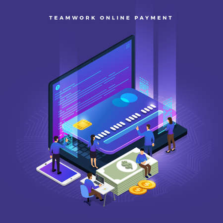 Ilustración de Business teamwork of small peoples working concept online payment via credit card. Vector isometricillustrations. - Imagen libre de derechos