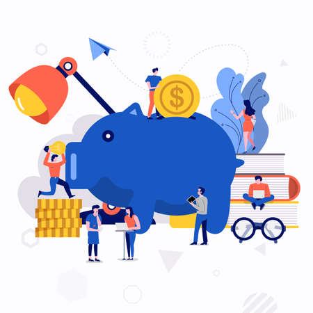 Illustration pour Illustrations flat design concept small people working together create big icon about money saving. Vector illustrate. - image libre de droit