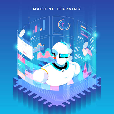 Illustration pour Illustrations concept machine learning via artificial intelligence with technology analysis data and knowledge . Vector isometric  illustrate. - image libre de droit