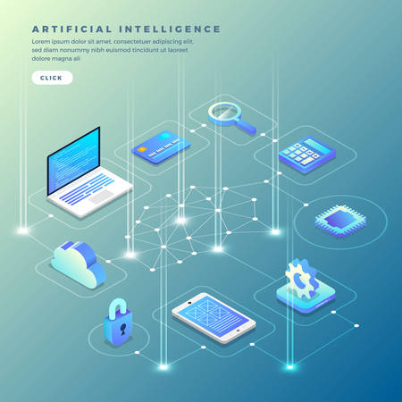 Illustration for Illustrations concept  artificial intelligence AI. Technology working with smart brain computer and machine connecting device. Isometric vector illustrate. - Royalty Free Image