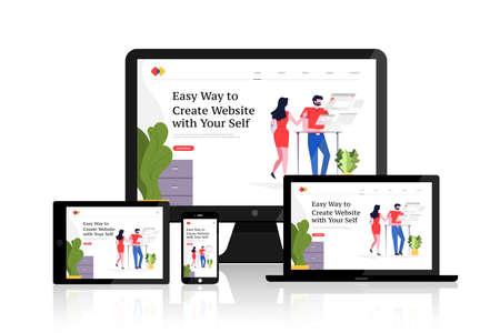 Illustration pour Flat design concept responsive web design development mockup layout devices on multiscreen. Vector illustrations. - image libre de droit