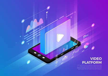Illustration pour Isometric illustrations design concept mobile technology solution on top with video platform. Gradient background and digital graph chart thin line. Vector illustrate. - image libre de droit