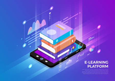 Illustration pour Isometric illustrations design concept mobile technology solution on top with e-learning. Gradient background and digital graph chart thin line. Vector illustrate. - image libre de droit