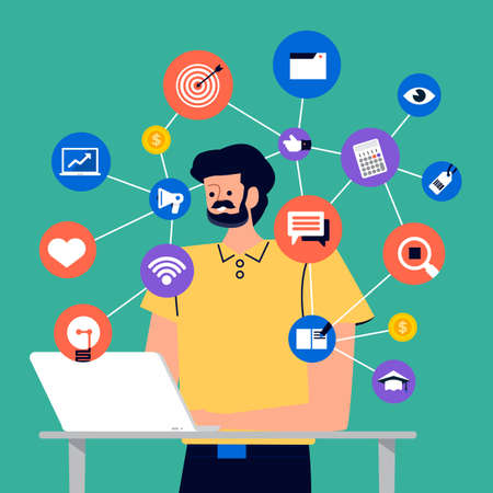 Illustration for Set of cartoon peoples using internet device like smartphone and laptop with digital lifestyle action. Vector illustrations. - Royalty Free Image