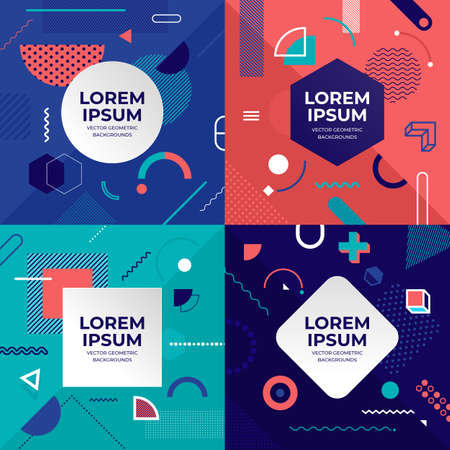 Ilustración de Illustrations design concept object set memphis style covers. Collection of cool bright poster. Abstract geometric shapes compositions. Vector illustrate. - Imagen libre de derechos