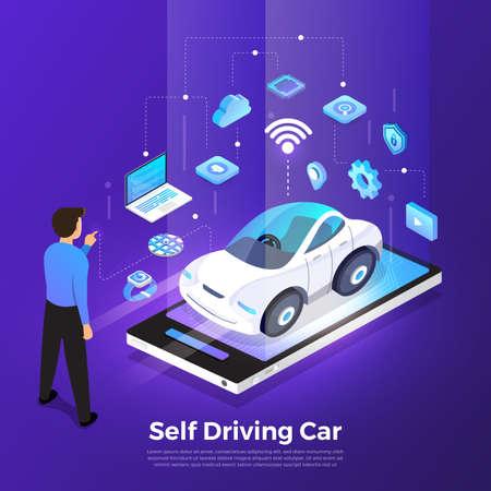 Photo pour Autonomous self-driving Automobile sensors Smart Car Driverless vehicle technology. Vector illustrate. - image libre de droit