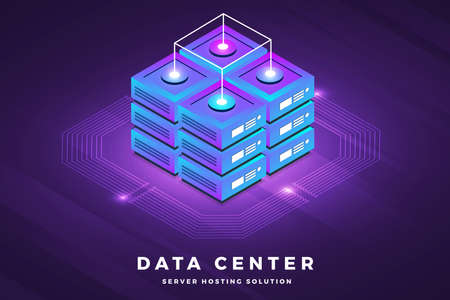 Illustration pour Isometric illustrations design concept technology solution on top with big data server. Gradient background and digital graph chart thin line. Vector illustrate. - image libre de droit