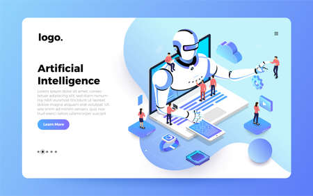 Illustration for Illustrations concept  artificial intelligence AI. Technology working with smart brain computer and machine connecting device. Isometric vector illustrate. Website design landing page mockup. - Royalty Free Image