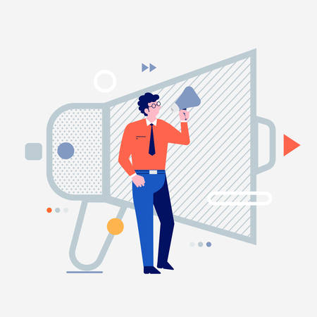 Illustration pour Cartoon peoples using internet device like smartphone and laptop with digital lifestyle icon. Advertising mega phone. Vector illustrations. - image libre de droit