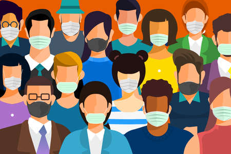 Illustration pour Illustrations concept coronavirus COVID-19. Many people wear masks to protect against germs. peopleVector illustrate. - image libre de droit