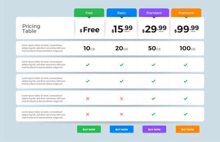 Illustration pour Template Design UX/UI price list. User interface panel product price package box and button buy now. Vector Illustrate. - image libre de droit