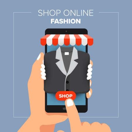 Illustration pour Illustrations flat design concept mobile shop online store. Hand hold mobile sale fashion shopping. Vector illustrate. - image libre de droit