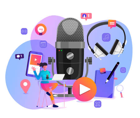 Illustration pour Vector illustrations concept design podcast channel. Teamwork make podcasting.Studio microphone table broadcast people. Podcast radio icon. - image libre de droit