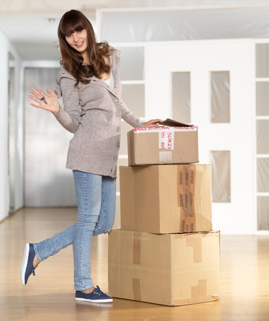 Young woman moved to new apartment