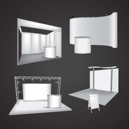 Set of blank exhibition display vector