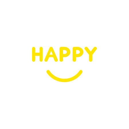 Flat design style vector illustration concept of yellow happy text with smiling mouth on white background.