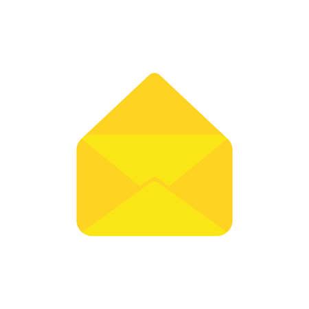 Flat design style vector illustration of yellow open envelope symbol icon on white background.