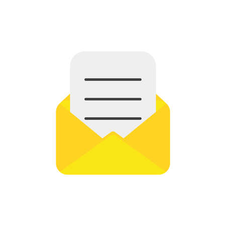 Flat design style vector illustration of yellow open envelope with written paper symbol icon on white background.