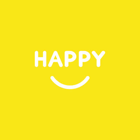 Flat vector icon concept of happy word with smiling mouth on yellow background.
