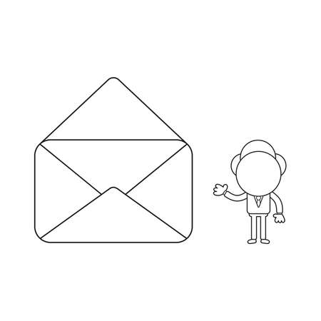 Vector illustration concept of businessman character with opened mail envelope. Black outline.