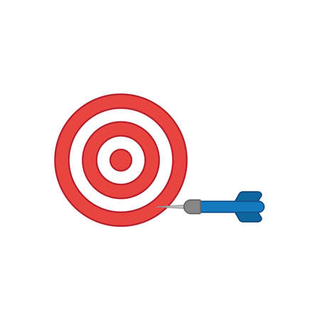 Illustration pour Flat design style vector illustration concept bullseye with dart icon in the side on white background. Colored outlines. - image libre de droit