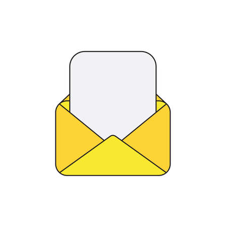 Vector icon of yellow opened mail envelope with blank paper. Black outlines and colored.