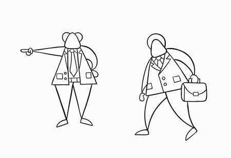 Hand-drawn vector illustration boss firing businessman worker. White colored and black outlines.